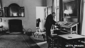 Winston Churchill at his standing desk